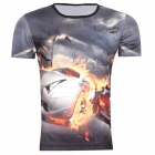 Men's Korean Version Flaming Sports Car Printing Pattern Short Sleeve T-shirt - Grey (Size XL)