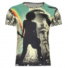 laonongzhuang Men's Rocker Printing Pattern Short Sleeve T-shirt - Green + Yellow + Black (Size XL)