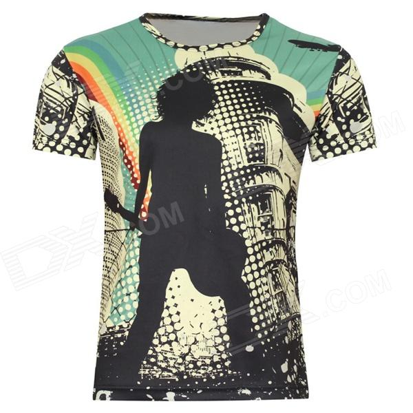 LaoNongZhuang Rocker Pattern Artificial Fiber Short Sleeve Mens T-Shirt - Yellow (XXXL) - DXTees<br>Brand LaoNongZhuang Color Yellow Material Artificial fiber + pure color cloth Suitable for Adults Size XXXL Sleeve Length 21 cm Shoulder Width 52 cm Chest Girth 116 cm Suitable for Height 172~175 cm Features This is a kind of short sleeve t-shirt which is with fashionable and noble pattern; Fashionable and unique casual wear; It is suitable for youngster Packing List 1 x T-shirt (XXXL)<br>