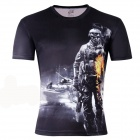 LaoNongZhuang Soldier Pattern Artificial Fiber Short Sleeve Men's T-Shirt - Black (XXXL)