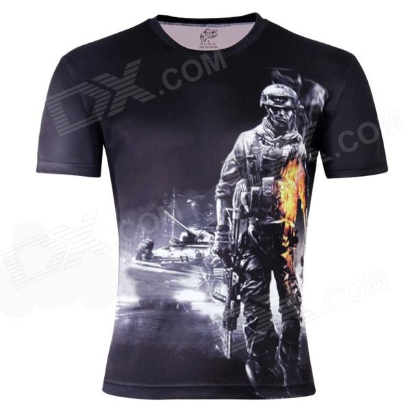 LaoNongZhuang Soldier Pattern Artificial Fiber Short Sleeve Men's T-Shirt - Black (XL)
