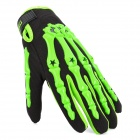 Skeleton Anti-Skid Breathable Motorcycle Racing Full-Finger Gloves - Green + Black (Size-M / Pair)