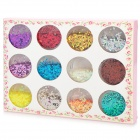 12-in-1 Gorgeous Nail Art Sequins Set - Multicolored