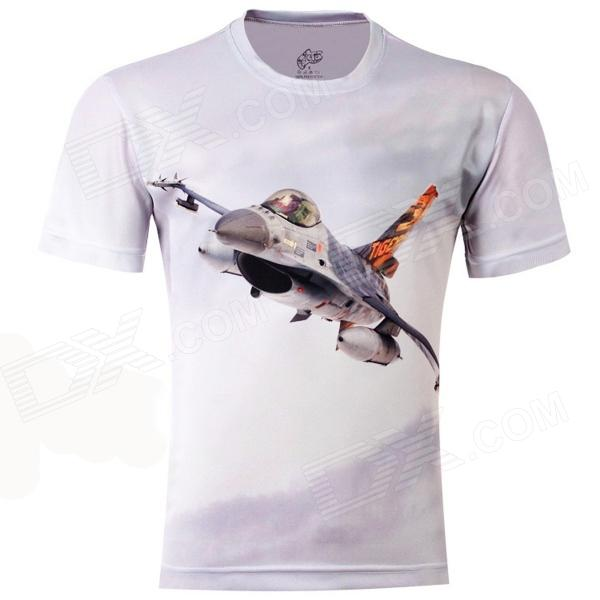 LaoNongZhuang Soaring Jet Fighter Pattern Fiber Short Sleeve Men's T-Shirt - Light Grey (XXXL) men s korean version flaming sports car printing pattern short sleeve t shirt grey size xxxl