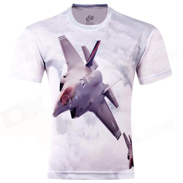 LaoNongZhuang Plunging Jet Fighter Pattern Fiber Short Sleeve Men's T-Shirt - Light Grey (XXXL) men s korean version flaming sports car printing pattern short sleeve t shirt grey size xxxl