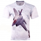 LaoNongZhuang Plunging Jet Fighter Pattern Fiber Short Sleeve Men's T-Shirt - Light Grey (XXXL)