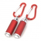 LED White Light Zooming Flashlight Keychains Set - Dark Red + Silver (3 x LR44 / 2 PCS)