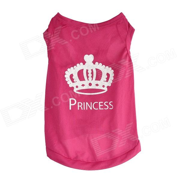 Cute Princess Crown Style Vest Dog Apparel Pet Clothes - Deep Pink (Size XS)