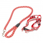 Adjustable Collar Strap Big Dog Pet Reflective Leash - Red (120CM-Length)