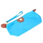 Cute Dumpling Style Portable Oxford Cloth Zippered Cosmetic Bag w/ Strap - Blue
