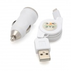 2-in-1 Car Lighting Cigarette Charger + USB 8Pin Extension Cable for iPhone 5 / iPad 4 - White