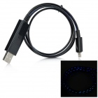 Blue Light 8-pin Lightning USB Data Charging Cable for iPhone 5 - Black + Blue