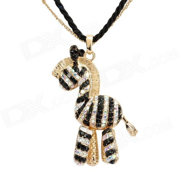 Retro Cute Zebra Style Pendent Dual Straps Alloy Necklaces - Golden + Black - DXNecklaces<br>Color Black + Golden Quantity 1 Piece Chain Material Alloy Pendant Material Alloy Gender Women Suitable for Adults Chain Length 80 cm Features The tail and legs can move; Cute zebra style pendent design great ornament for matching dress makes your look more attractive; Nice gift for your girl friends Packing List 1 x Necklace<br>