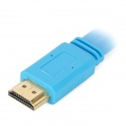 HD HDMI Male to Male Flat Connection Cable w/ Angle HDMI Converter Adapter - Light Blue (50cm)