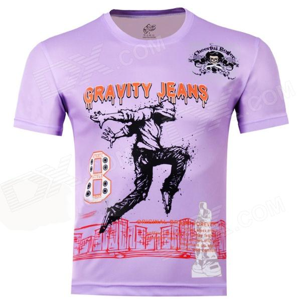 LaoNongZhuang Hip-Pop Pattern Artificial Fiber Short Sleeve Men's T-Shirt - Violet (XXXL)