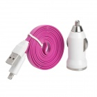 Car Charger + USB 8-Pin Lightning Flat Cable for iPhone 5 / iPad 4 - Purple + White