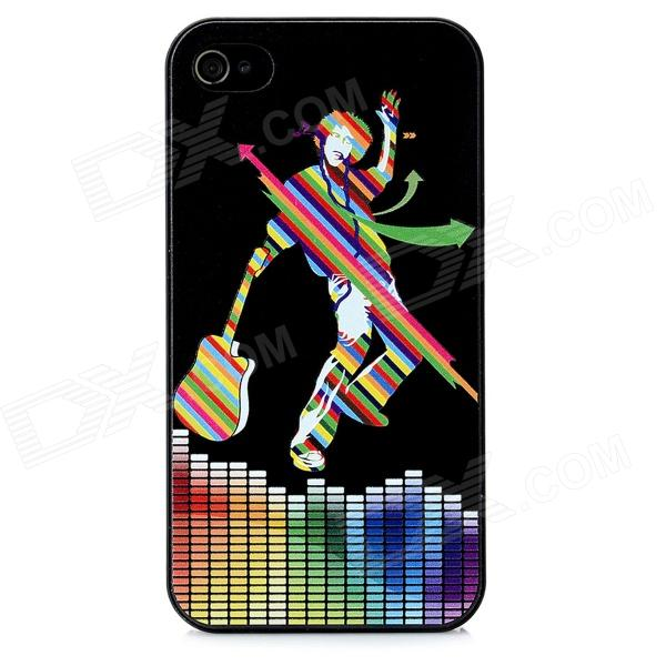 Colorfilm Music Follow Heart Pattern Plastic Case for Iphone 4 / 4S - Black