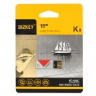 BIZKEY K8 USB 2.0 Flash Drive - Silver + Red (16GB)