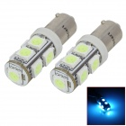 SENCART BAX9S 1.8W 126lm 537~540nm 9-SMD 5050 LED Ice Blue Light Car Lamp (DC 12~16V / 2 PCS)