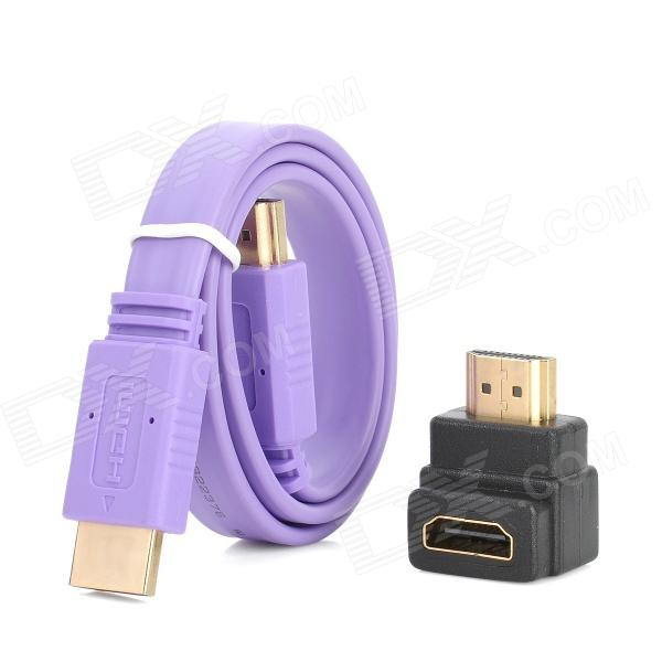 HD HDMI Male to Male Flat Connection Cable w/ Angle HDMI Converter Adapter - Purple (50cm) hdmi 2 0 flat long cable wire male to male engineering cord 25m 30m 40m 50m 4k 2k standard certified 25 30 40 50 meters by dhl