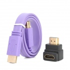 HD HDMI Male to Male Flat Connection Cable w/ Angle HDMI Converter Adapter - Purple (50cm)