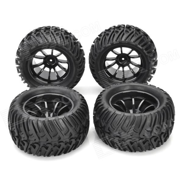 1/10 Rubber Tread Tires for R/C Electric / Oil Hybrid Rock Crawler Car - Black (4 PCS) набор aist 67928905