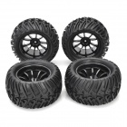 1/10 Rubber Tread Tires for R/C Electric / Oil Hybrid Rock Crawler Car - Black (4 PCS)