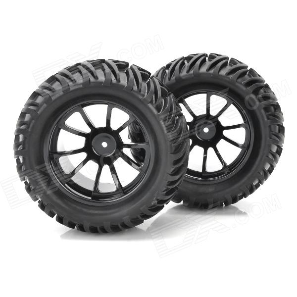 1 10 Rubber Tread Tires For R C Electric Oil Hybrid Rock Crawler Car Black 4 Pcs