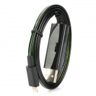 USB Data / Charging 8-Pin Lightning Cable w/ Visible Green EL Light for iPhone 5 - Black
