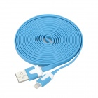 USB Data / Charging 8-Pin Lightning Flat Cable for iPhone 5 / iPad Mini / iPad 4 - Blue (300CM)