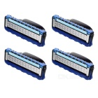 Replacement Stainless Steel Shaver Heads for Manual Razor - Blue + Green + Silver (4 PCS)