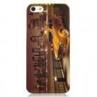 City Taxi Style Protective Plastic Back Case for Iphone 5 - Brown + Golden Yellow
