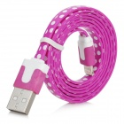 8 Pin Lightning Male to USB Male Polka Dot Data / Charging Cable for iPhone 5 - Purple (100cm)