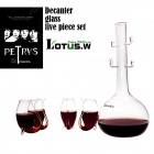Lotus.w SP-01 Borosilicate Glass Squirrel Style Cups + Pot Red Wine Decanter Set - Transparent