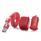 AC/Car Charging Adapter + USB Data / Charging 8-Pin Lightning Flat Cable for iPhone 5 - Red