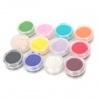 DIY 12-in-1 Manicure Art Polish Nail Bright Velvet Powder - Multi-Color
