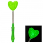 03 Hearts Style Plastic 3-Mode Flashing Green LED Light - Green + Silver (2 x AG13 + AG10)