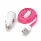 2-in-1 Car Cigarette Lighter Charger + USB 8Pin Data Cable for iPhone 5 - Deep Pink