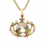 Fashion Crystal Crown Pendent Style Zinc Alloy Necklace - Golden