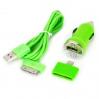 Car Charger + 30 Pin Male to USB Male Data Cable + 8 Pin Lightning Adapter Set for iPhone - Green
