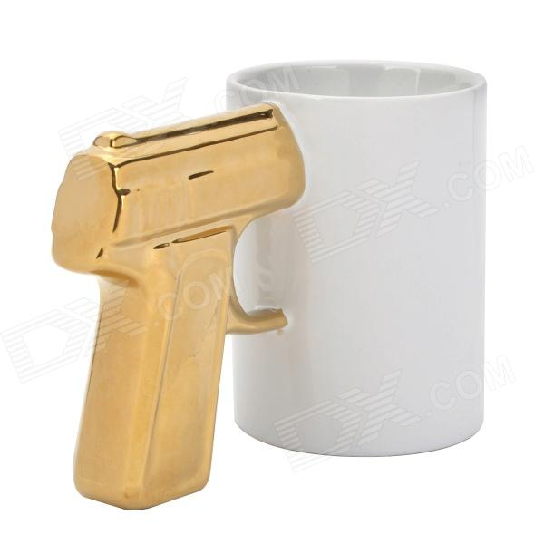 SALE Creative Gun Style Handle Ceramics Mug Cup - White + Golden (301~400ml) термокружка emsa travel mug fun 0 36l white black 514176