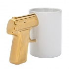 SALE Creative Gun Style Handle Ceramics Mug Cup - White + Golden (301~400ml)