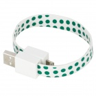Polka Dot Bracelet Style 8 Pin Lightning Male to USB Male Data / Charging Cable - Green (18cm)