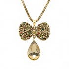 Fashion Crystal Bow Tie Pendent Zinc Alloy Necklace - Golden