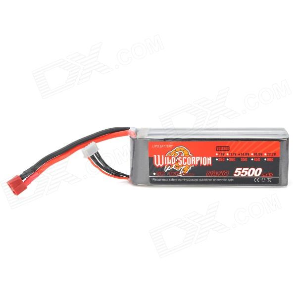 WILD SCORPION 14.8V 35C 4-Cell 5500mAh Li-ion Polymer Battery Pack for R/C Aircraft - Black + Silver