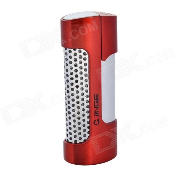 Fashion Stainless Steel Windproof Butane Gas Lighter - Red + Black