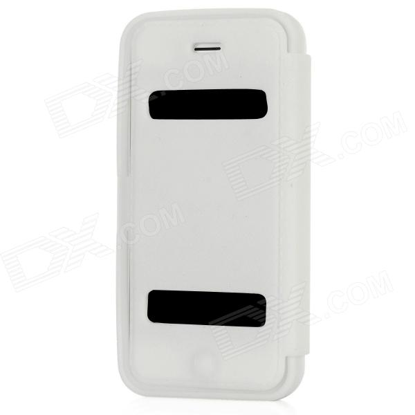 Protective Silicone Flip-Open Case for Iphone 5 - White protective silicone case for nds lite translucent white