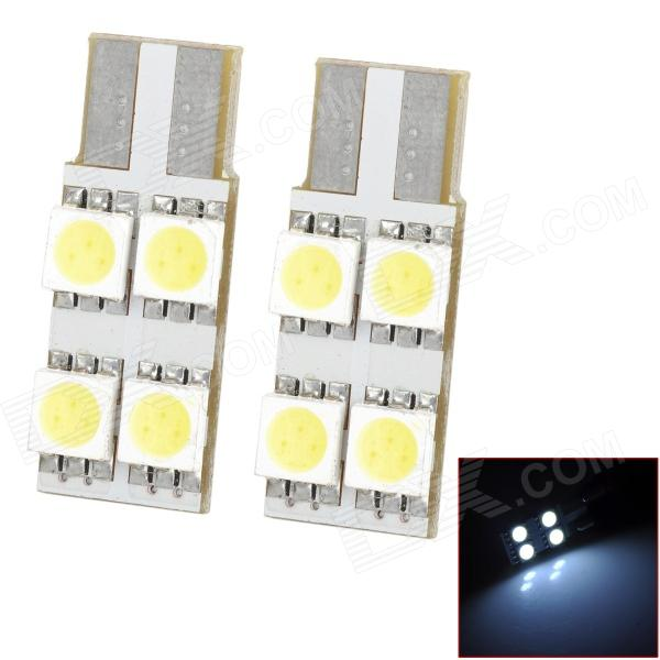 LY102 T10 1.2W 6000K 48lm 4-SMD 5050 LED White Light Room Lamp Bulbs (DC 12V / 2 PCS) carprie super drop ship new 2 x canbus error free white t10 5 smd 5050 w5w 194 16 interior led bulbs mar713