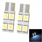 LY102 T10 1.2W 6000K 48lm 4-SMD 5050 LED White Light Room Lamp Bulbs (DC 12V / 2 PCS)