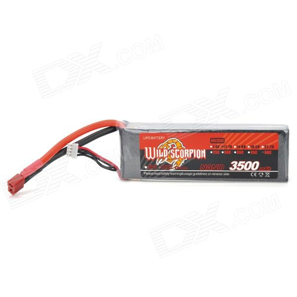 WILD SCORPION 11.1V 3500mAh 3 Cells Li-ion Polymer Battery for Model Airplane - Red + Black + Silver new genuine 14 4v 5200mah 74wh 8 cells a42 g55 notebook li ion battery pack for asus g55 g55v g55vm g55vw laptop